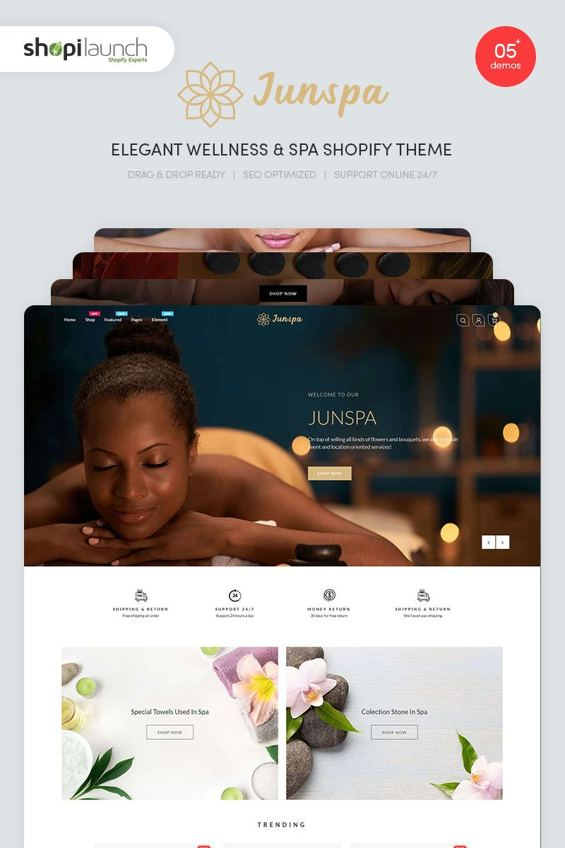 "Tema Shopify ""Junspa - Elegant Wellness & Spa"" #96095"