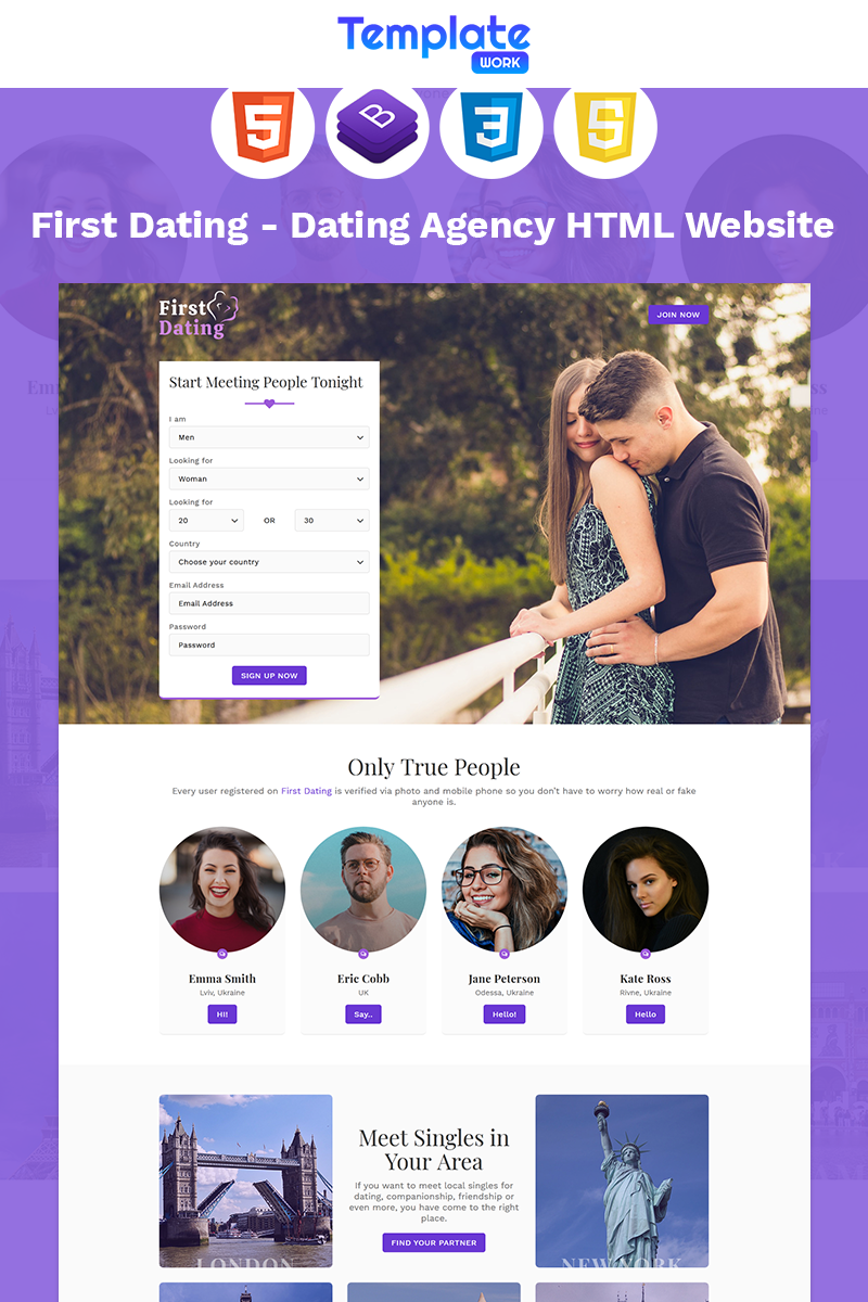 "Template di Landing Page Responsive #96094 ""First Dating - Dating Agency"""