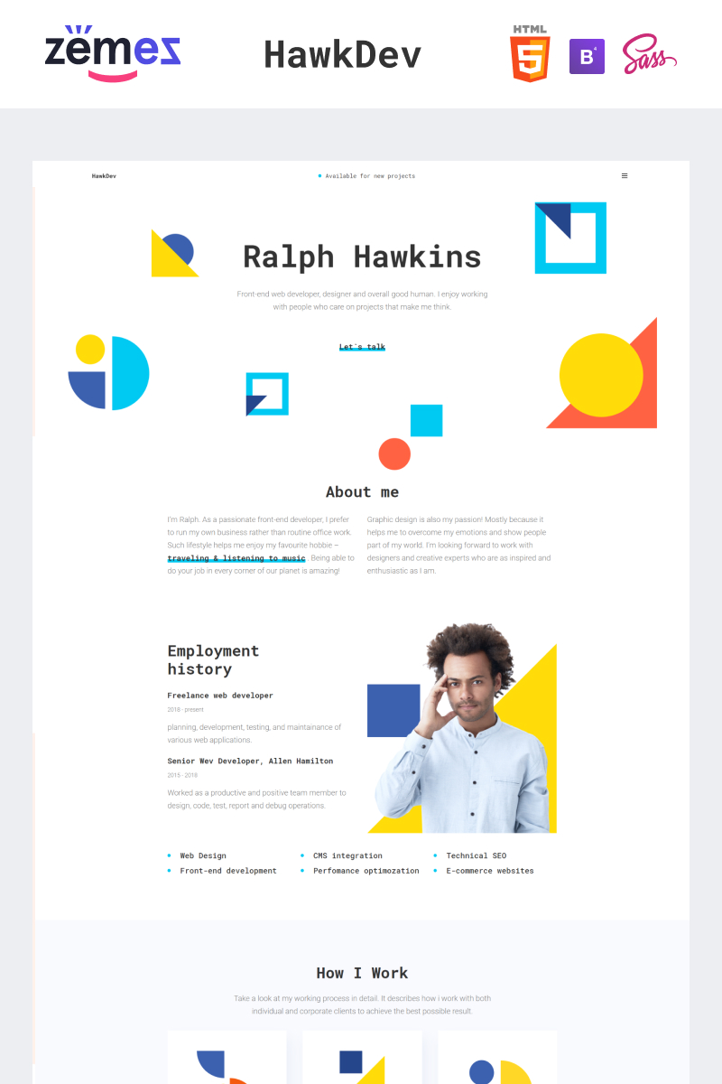 """HawkDev - Web Developer Portfolio"" Responsive Website template №96158"