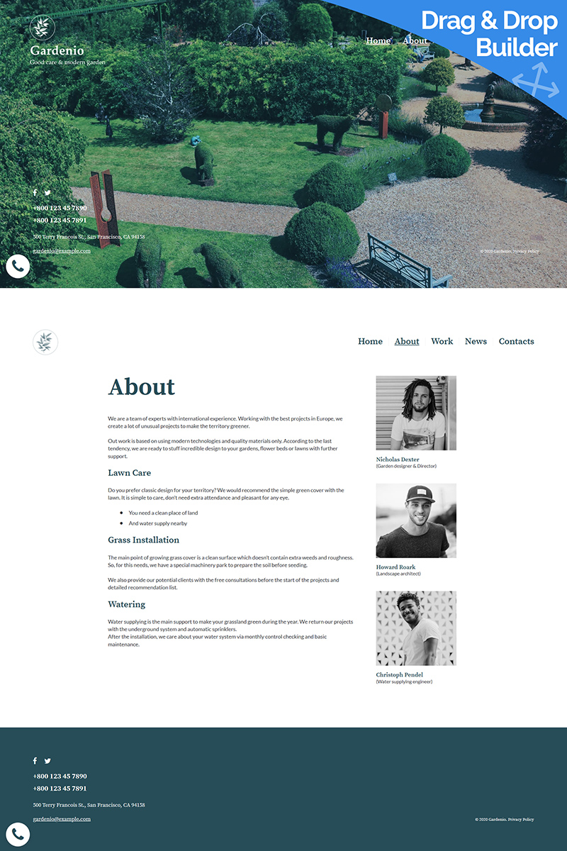 "Template Moto CMS 3 Responsive #96157 ""Gardenio - Garden & Landscape Design"""