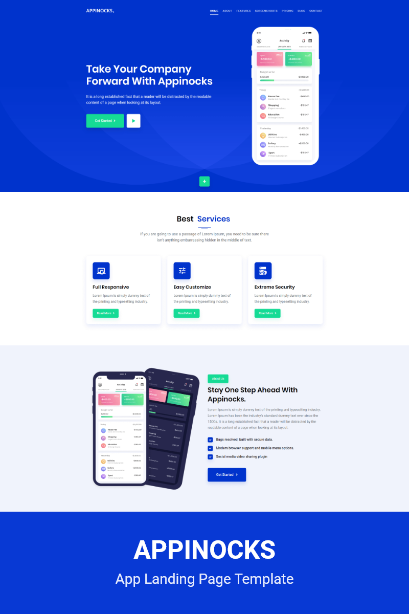Appinocks-App Landing Page Template - screenshot