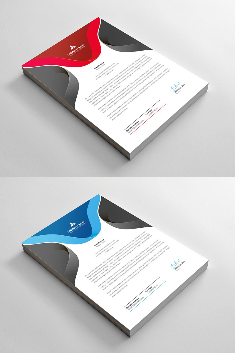Curvy Letterhead Corporate Identity Template