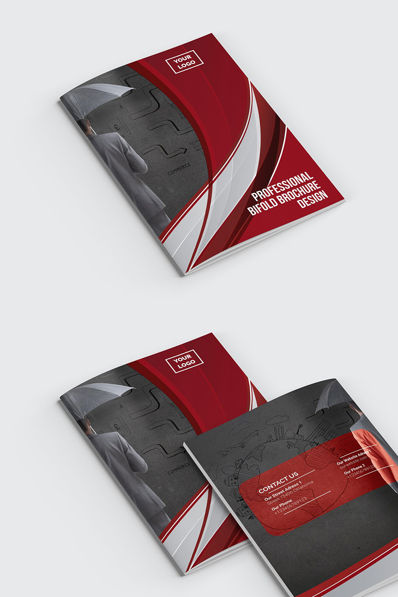 Curvy Modern Bifold Brochure Corporate Identity Template