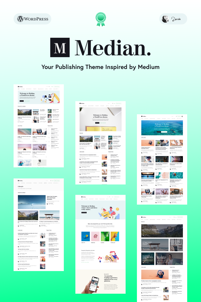 Median - Blog Inspired by Medium's Design WordPress Theme