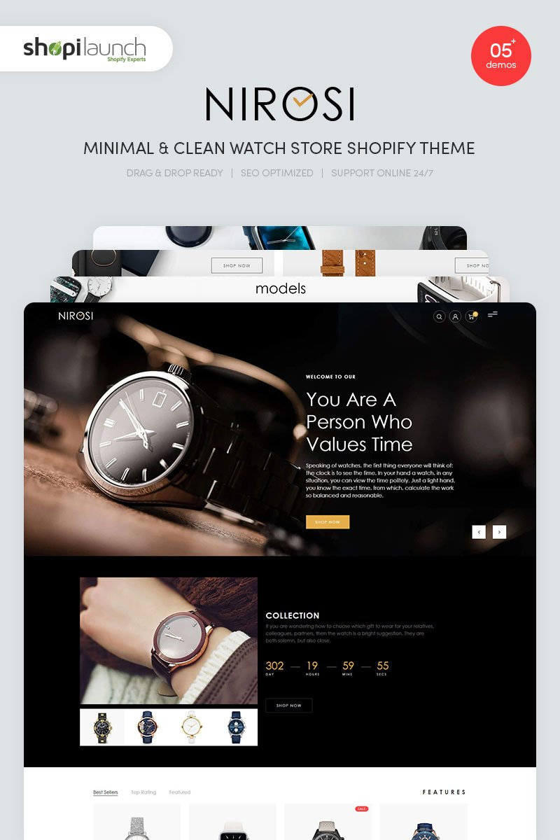 """Nirosi -  Minimal & Clean Watch Store"" Shopify Thema №96290"