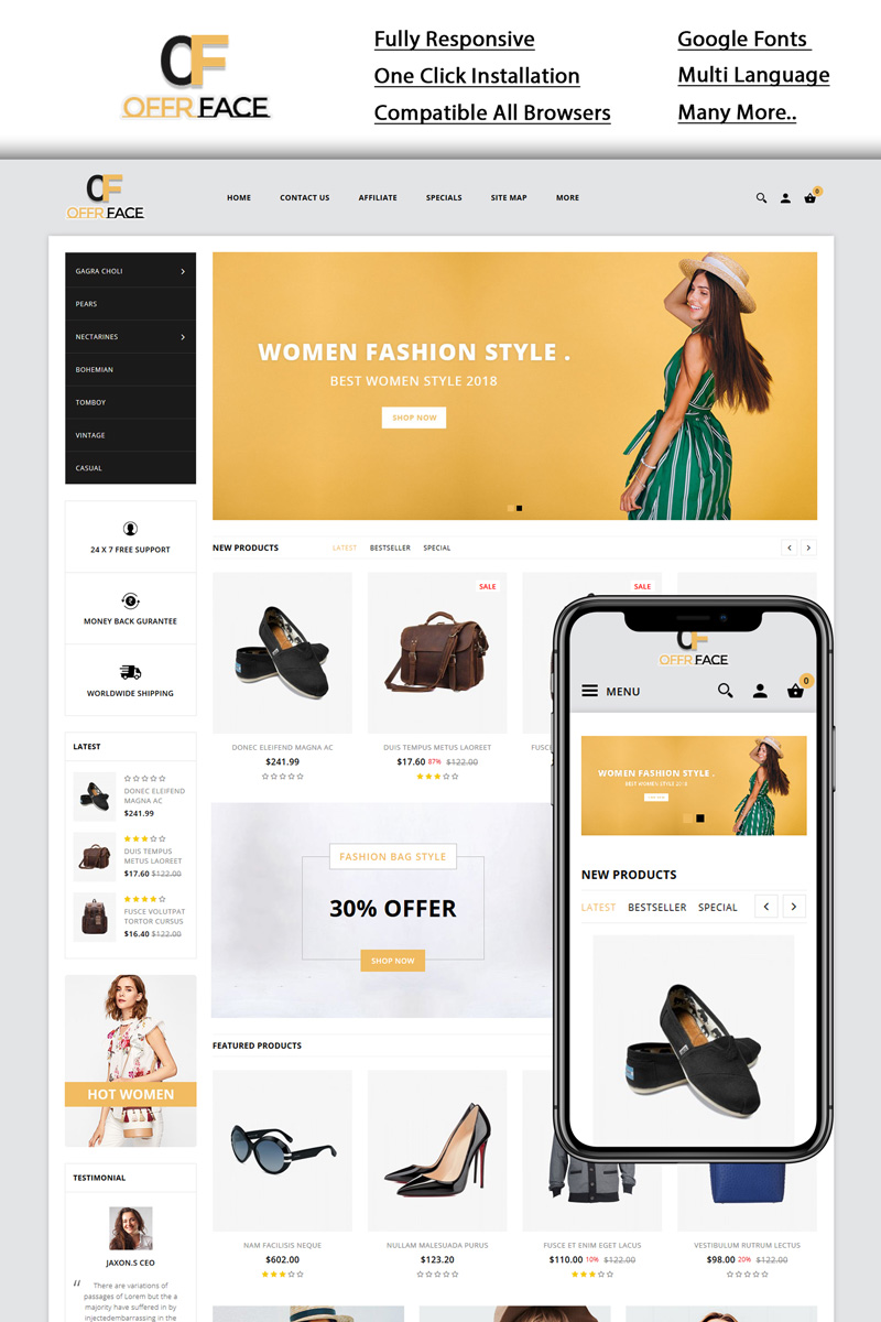 """""""Offerface - Fashion Store"""" Responsive OpenCart Template №96288"""
