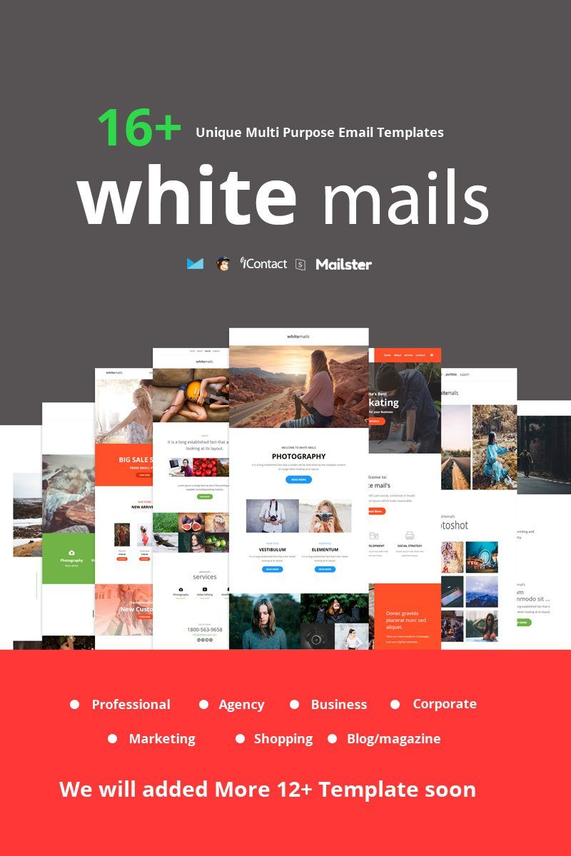"Tema di Newsletter Responsive #96291 ""White Mails - 16+ Unique Multi Purpose"" - screenshot"