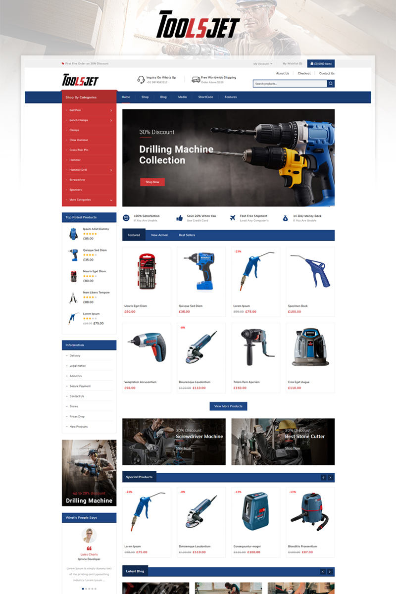 """Toolsjet - Hardware Store"" 响应式WooCommerce模板 #96293"
