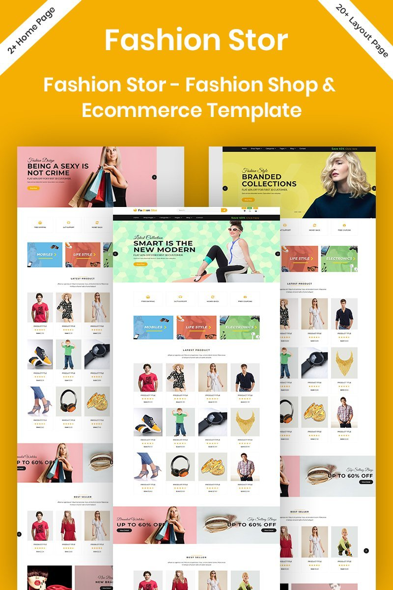 "Website Vorlage namens ""Fashion Stor - Fashion Shop & Ecommerce"" #96294"