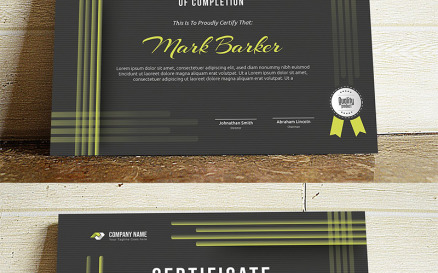 Abstract Dark Certificate Template