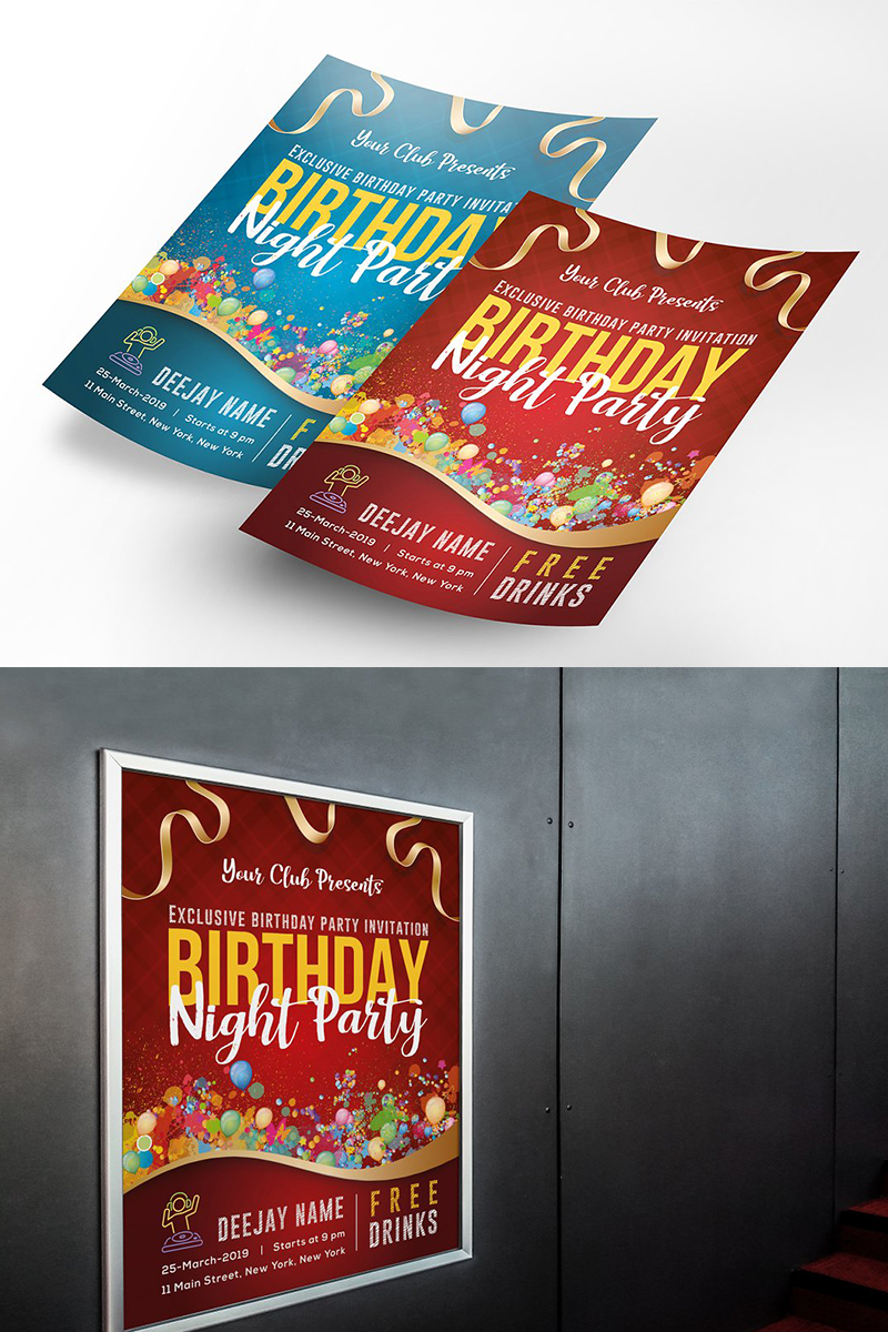 Birthday Party Flyer Poster Corporate Identity Template
