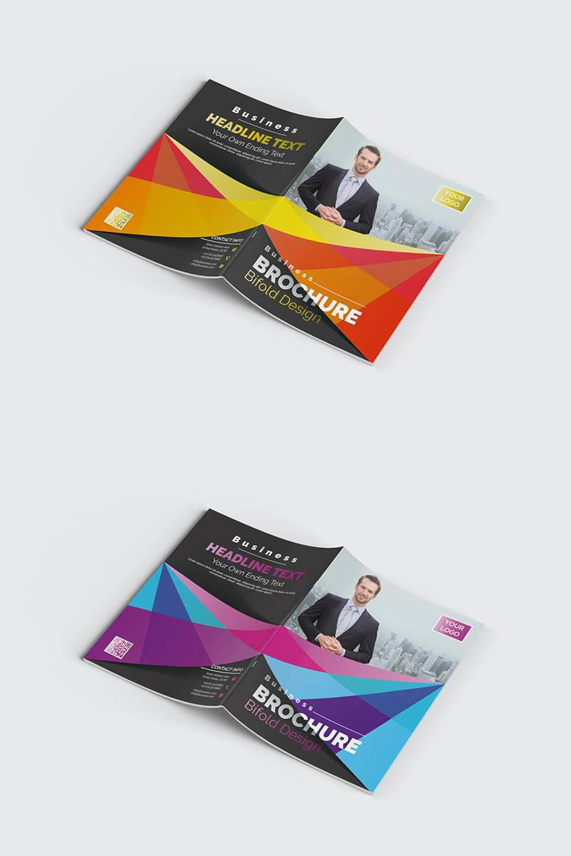 Abstract Bifold Brochure Corporate Identity Template