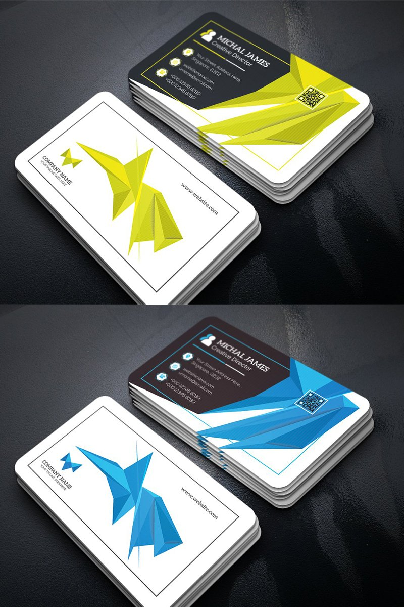 Abstract Origami Business Card Corporate Identity Template