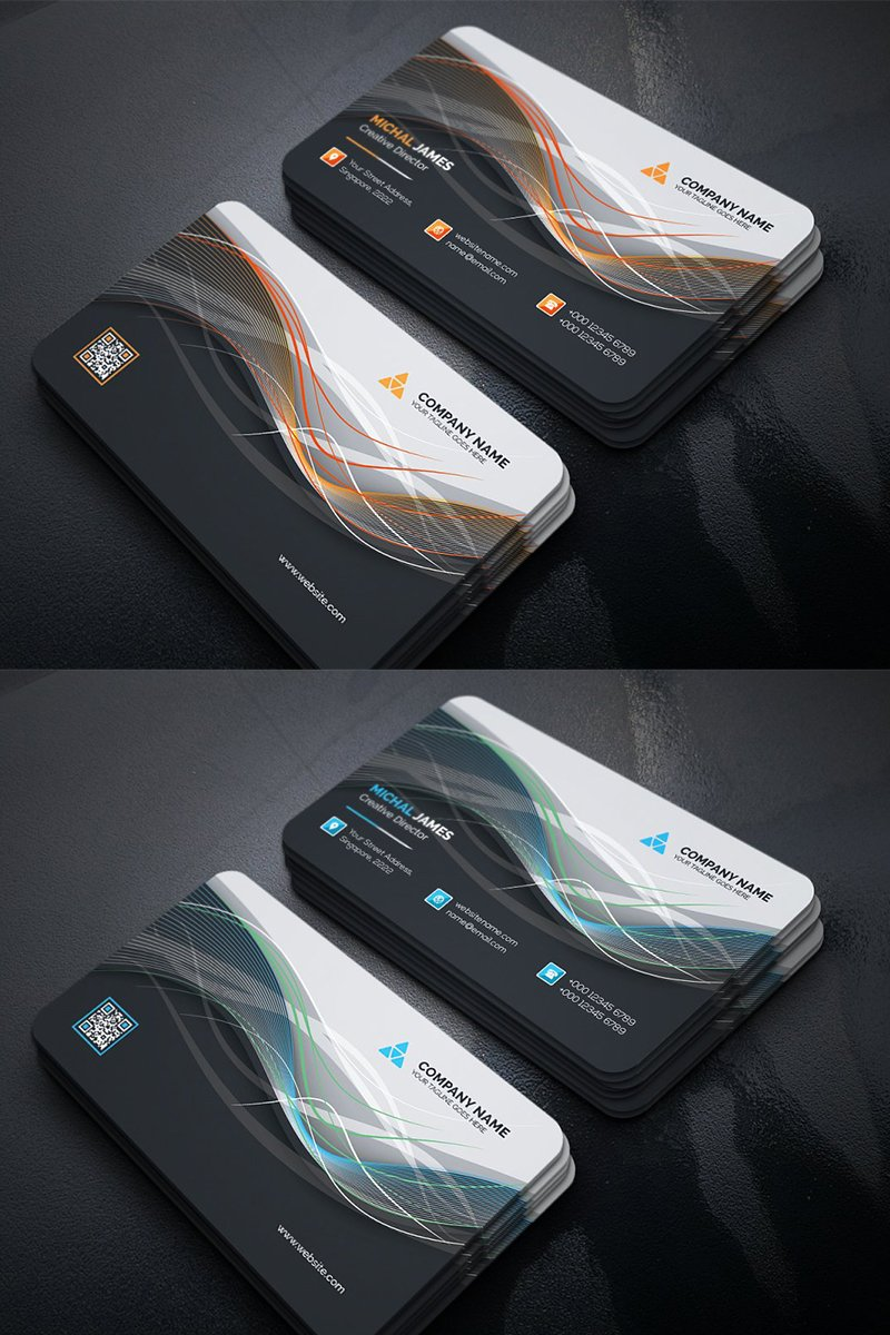 Abstract Wavy Business Card Corporate Identity Template