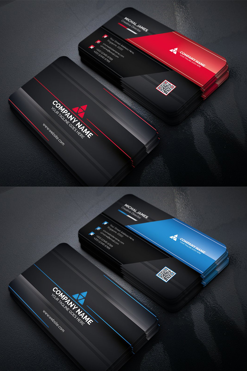 Modern Dark Business Card Corporate Identity Template