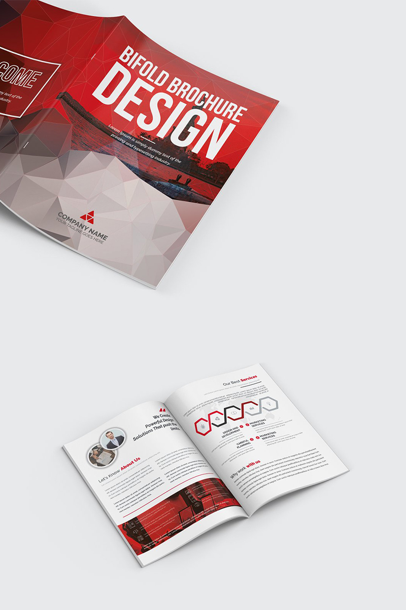 Polygonal Bifold Brochure Corporate Identity Template