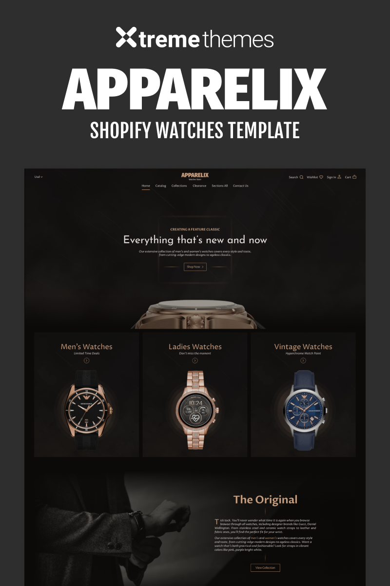 """Watches Store eCommerce Website Template"" thème Shopify  #96453"