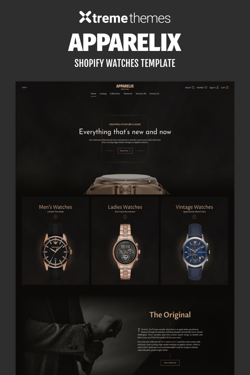 """""""Watches Store Website Template"""" Shopify Thema №96453 - screenshot"""