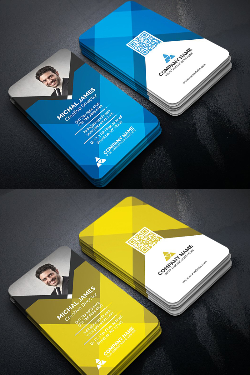 Colorful Geometric Business Card Corporate Identity Template