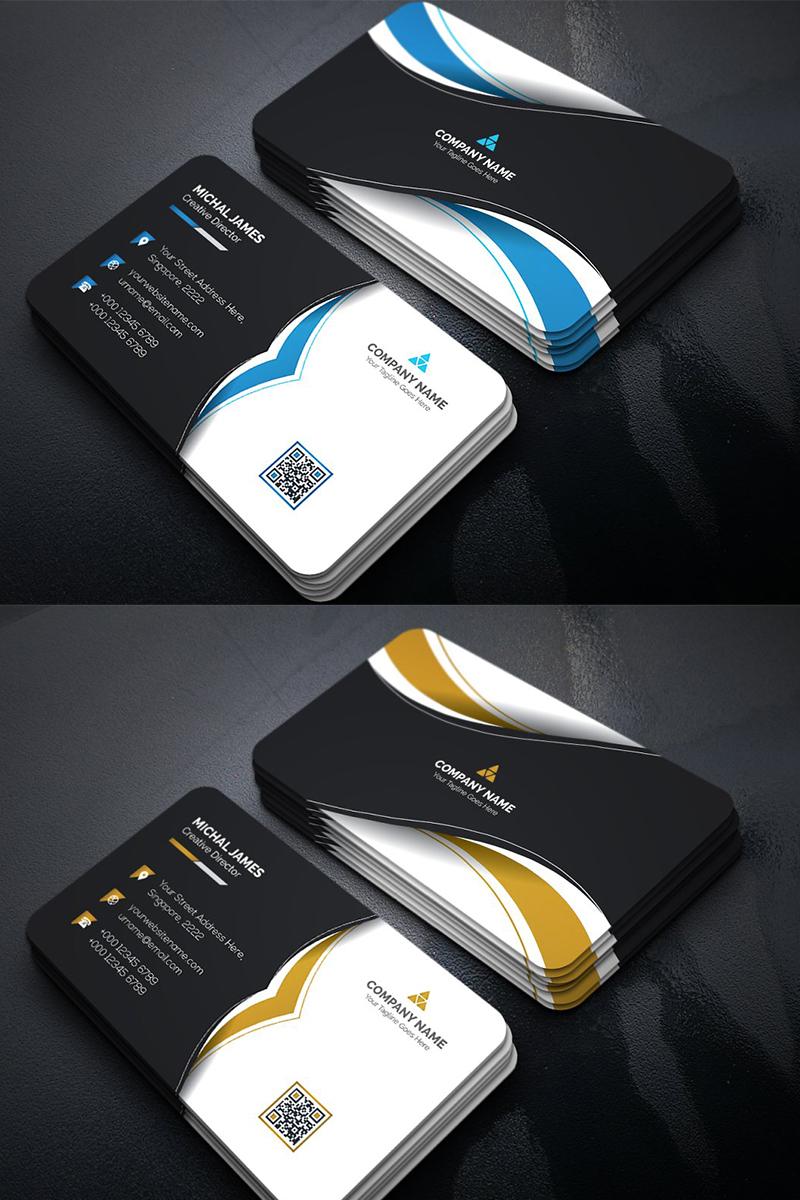 Curvy Dark Business Card Corporate Identity Template