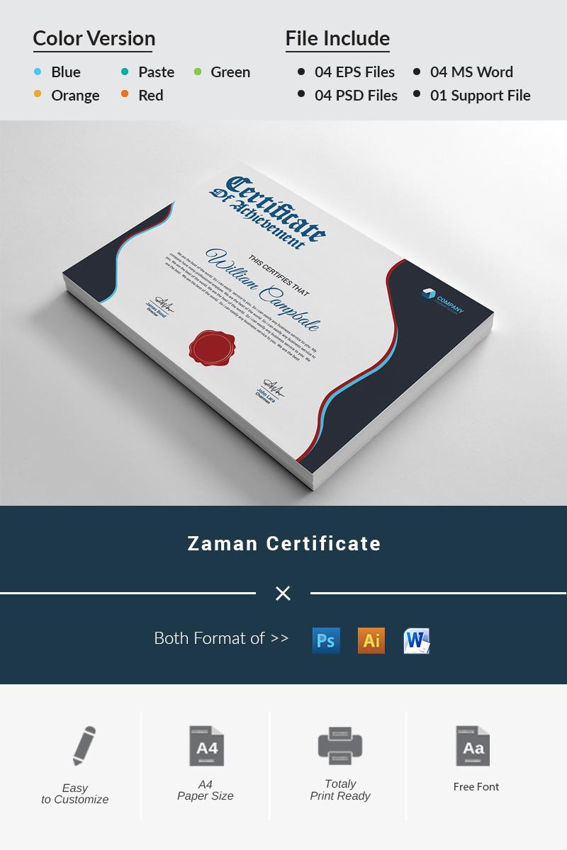 Prémium Zaman Achievement Certificate Template 96525