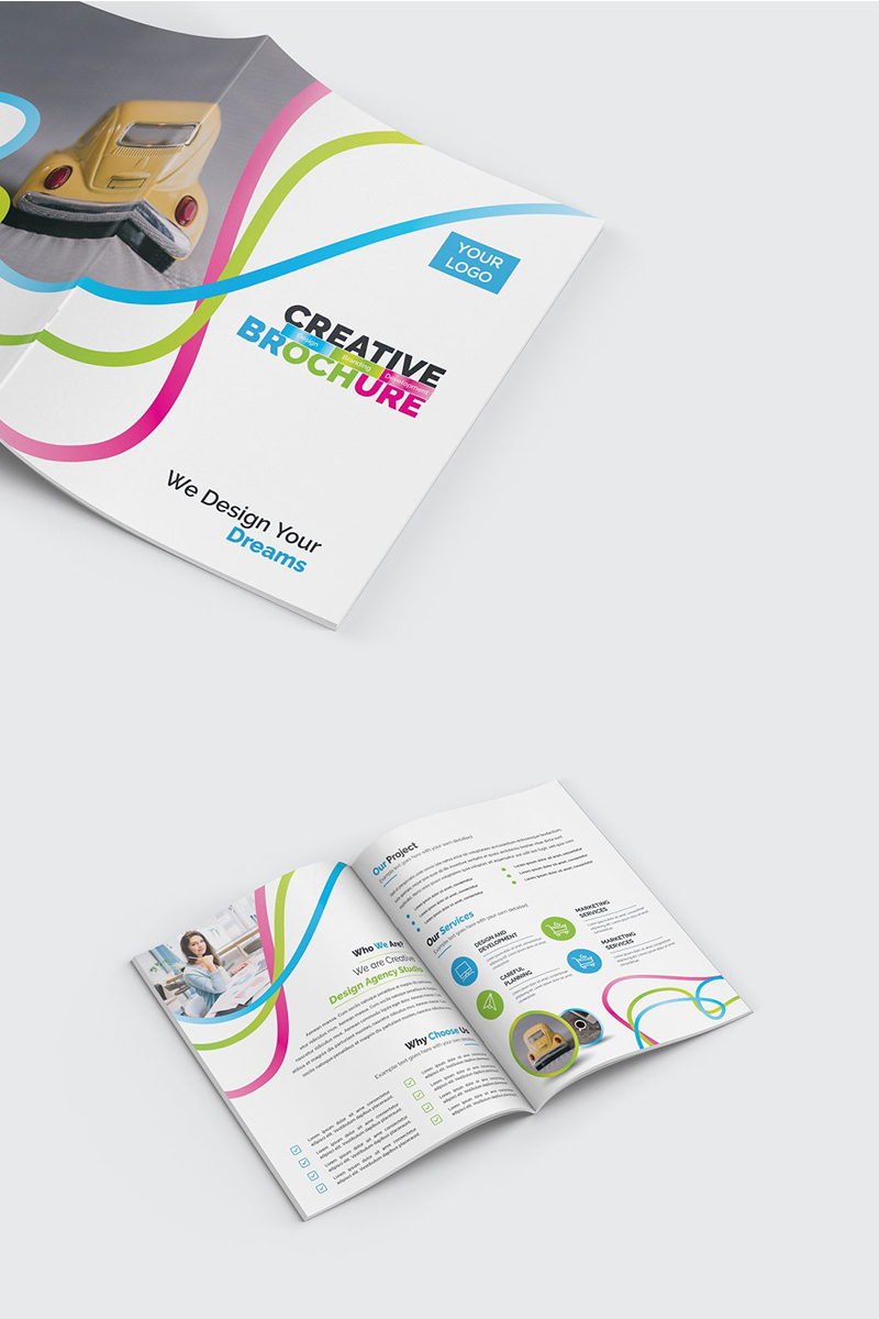Wavy Colorful Bifold Brochure Corporate Identity Template