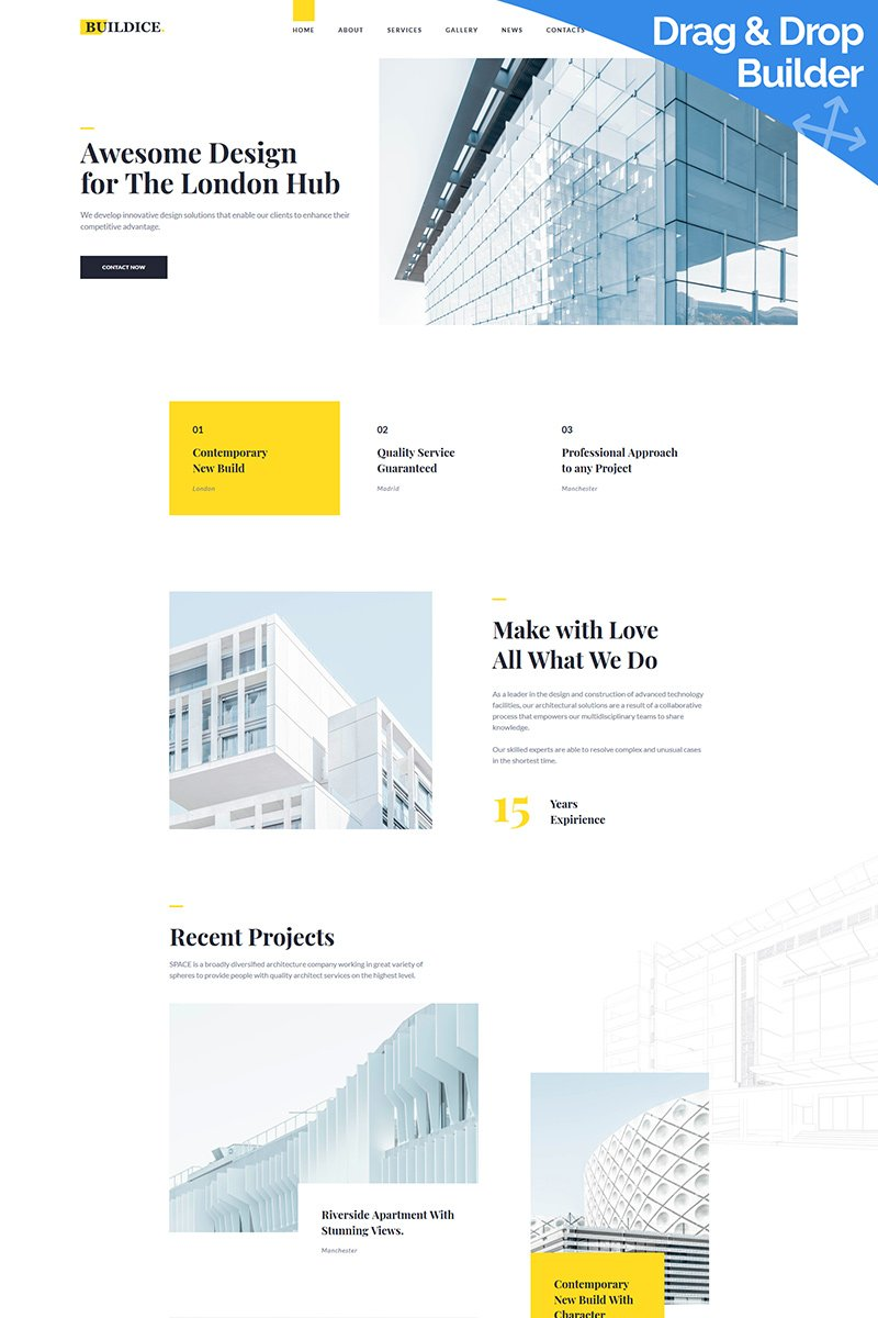 Responsivt Buildice - Architecture Moto CMS 3-mall #96692