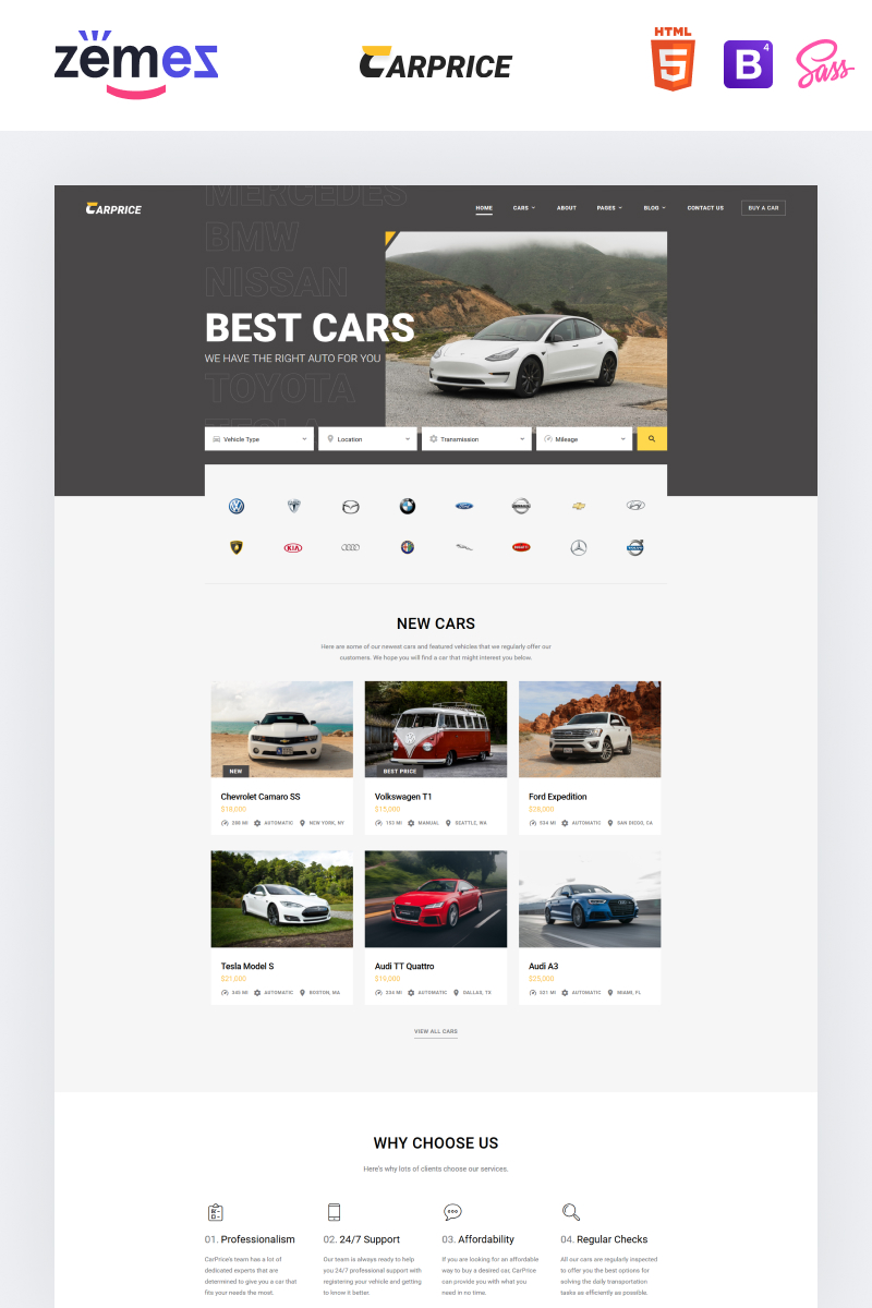 """""""Carprice - Automobile Dealership"""" Responsive Website template №96737"""