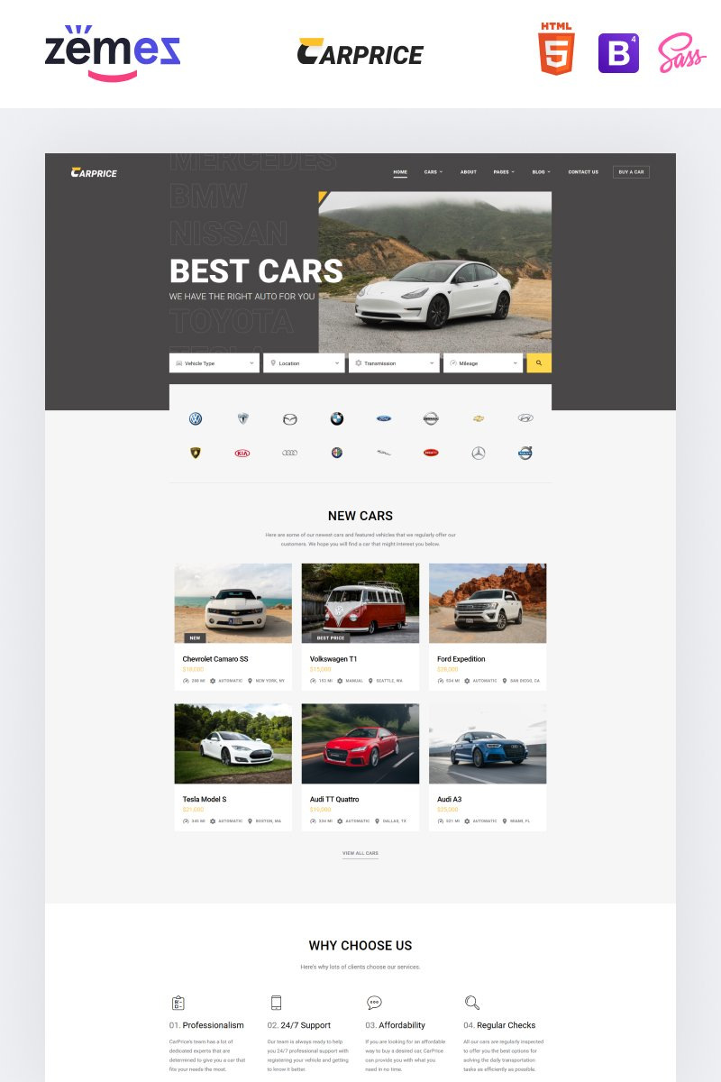 Carprice - Automobile Dealership Website Template