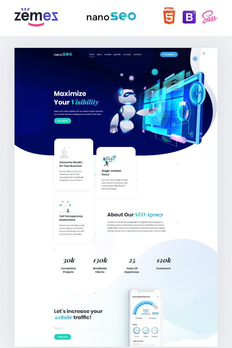 Responsivt nanoSEO - SEO Business Landing Page-mall #96736