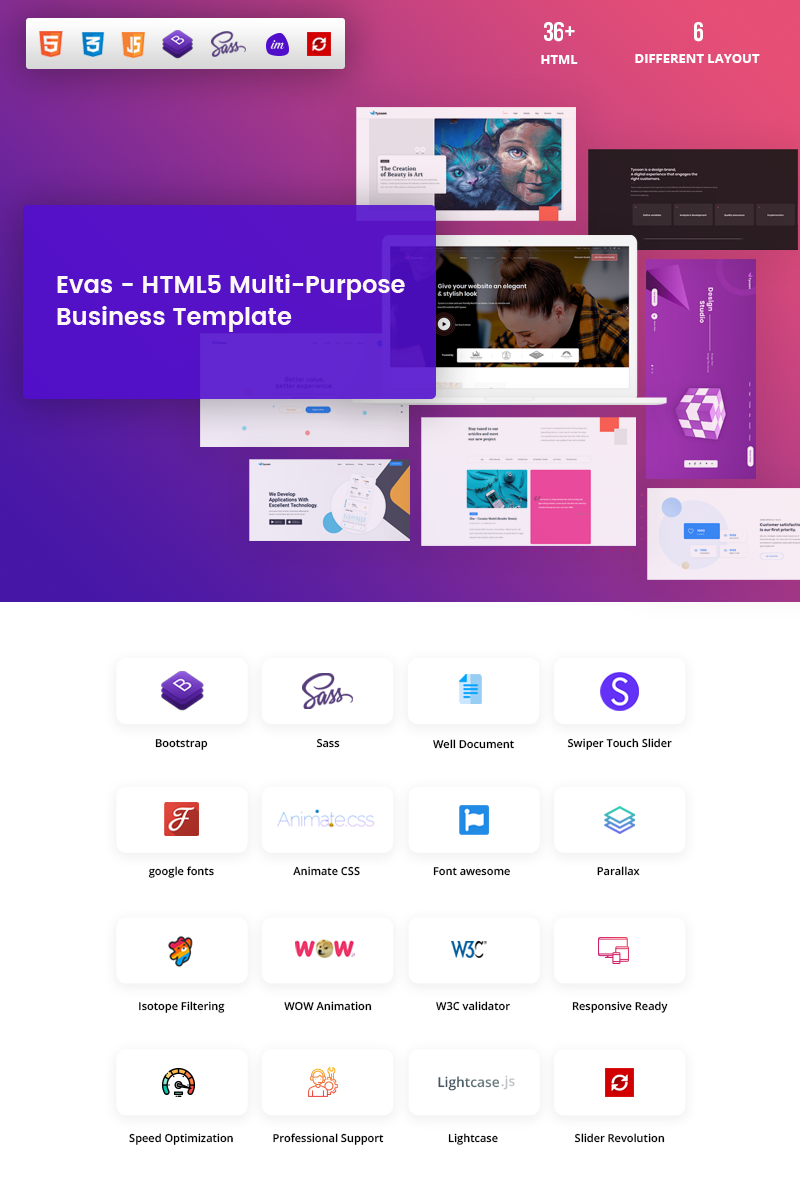 """Evas- HTML5 Multi-Purpose Business"" Bootstrap Website template №96819"