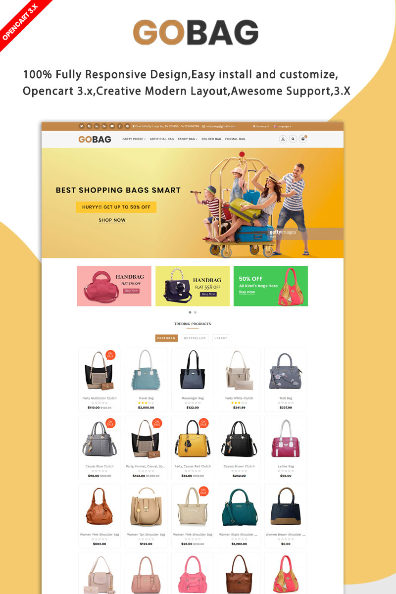 Gobag Responsive Website Template OpenCart №96825