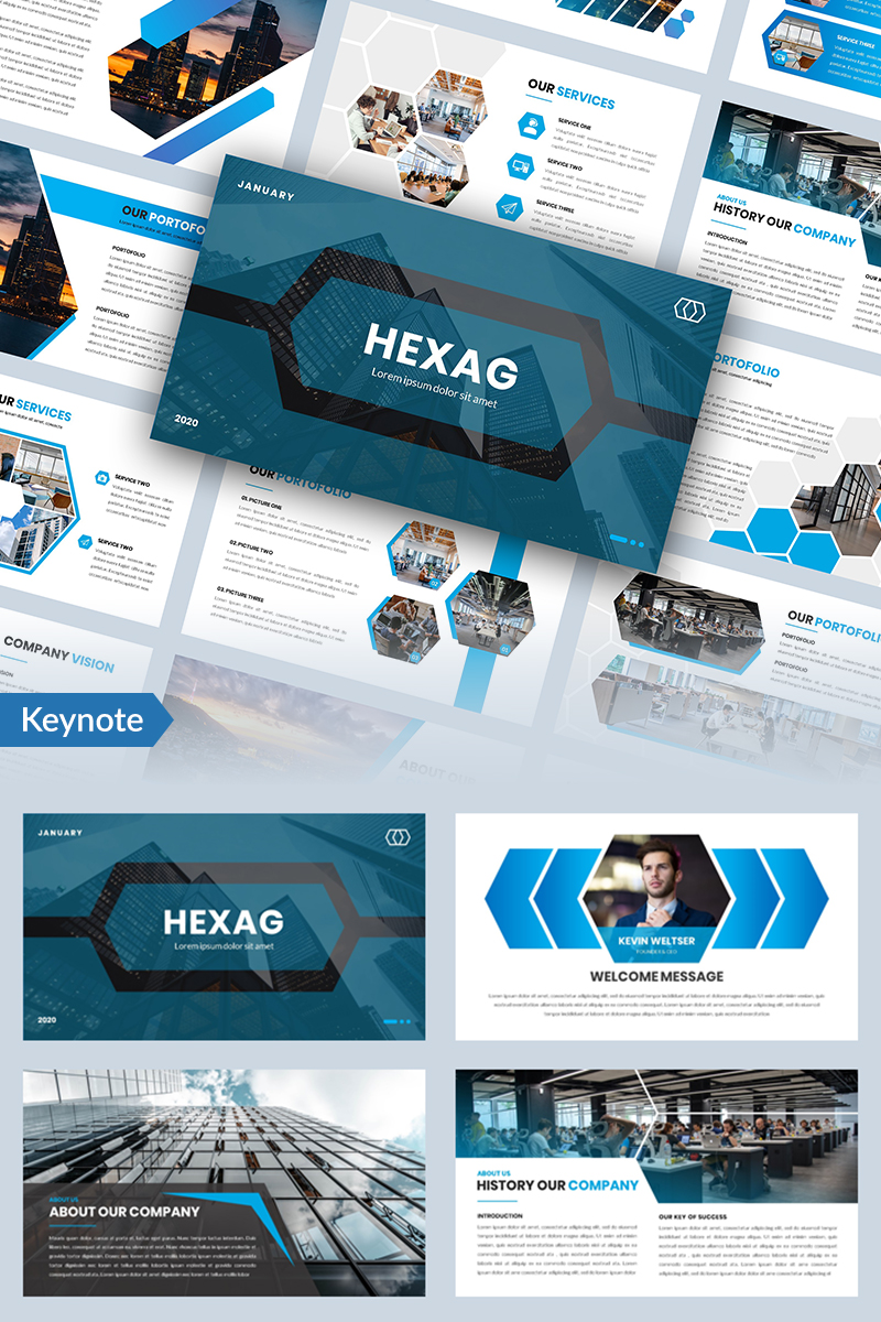"""Hexag - Bussines"" modèle Keynote  #96853"