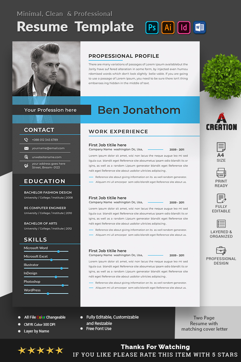 "Modello CV #96812 ""Ben Jonathon - Graphic Designer & Web Designer"""