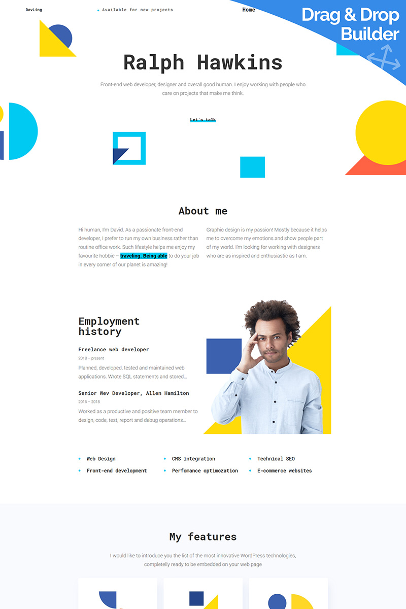 "Moto CMS 3 Template namens ""Devling - Web Developer Portfolio"" #96826"