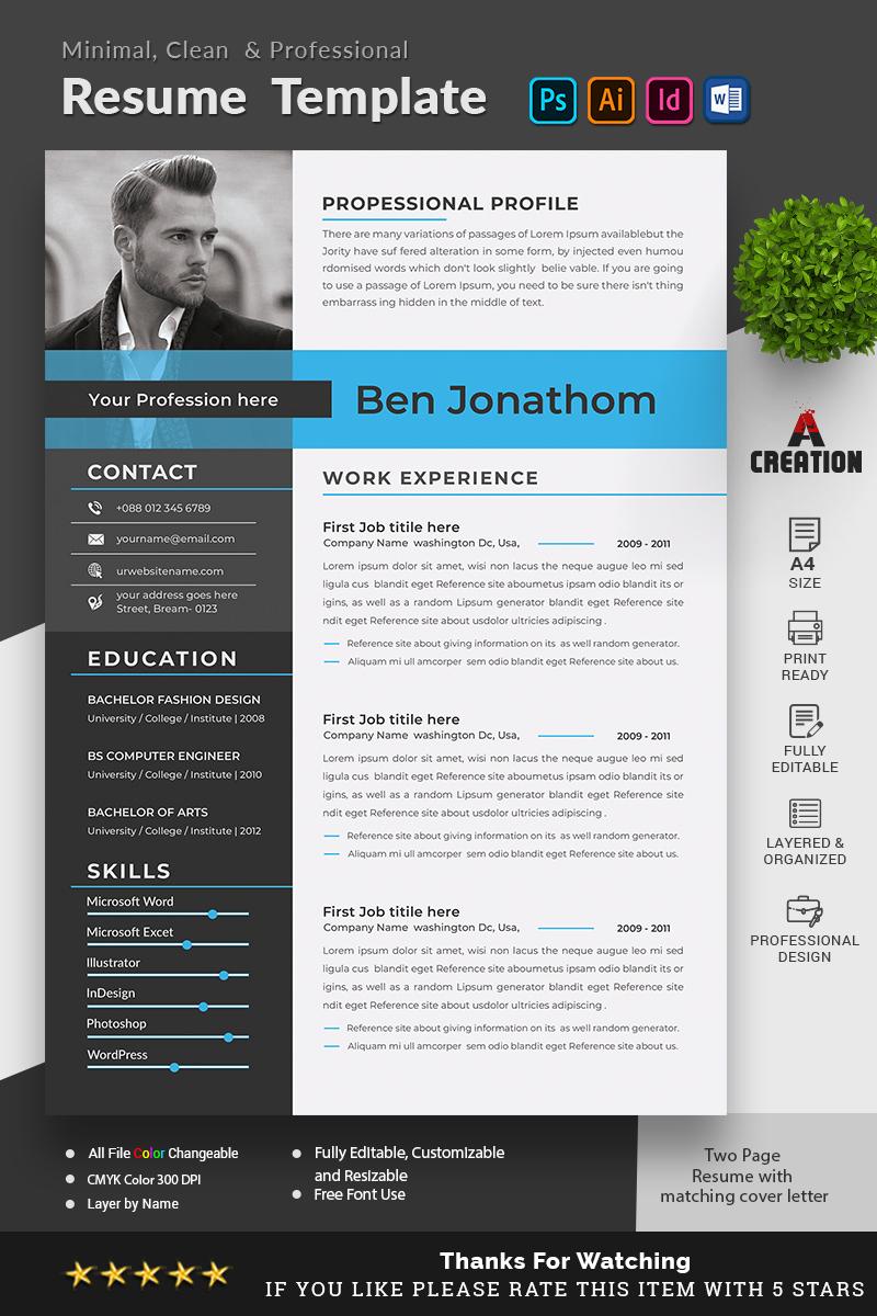 "Plantilla De CV ""Ben Jonathon - Graphic Designer & Web Designer"" #96812"