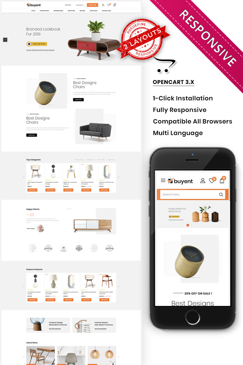 "Responzivní OpenCart šablona ""Buyent - The Multipurpose"" #96818"