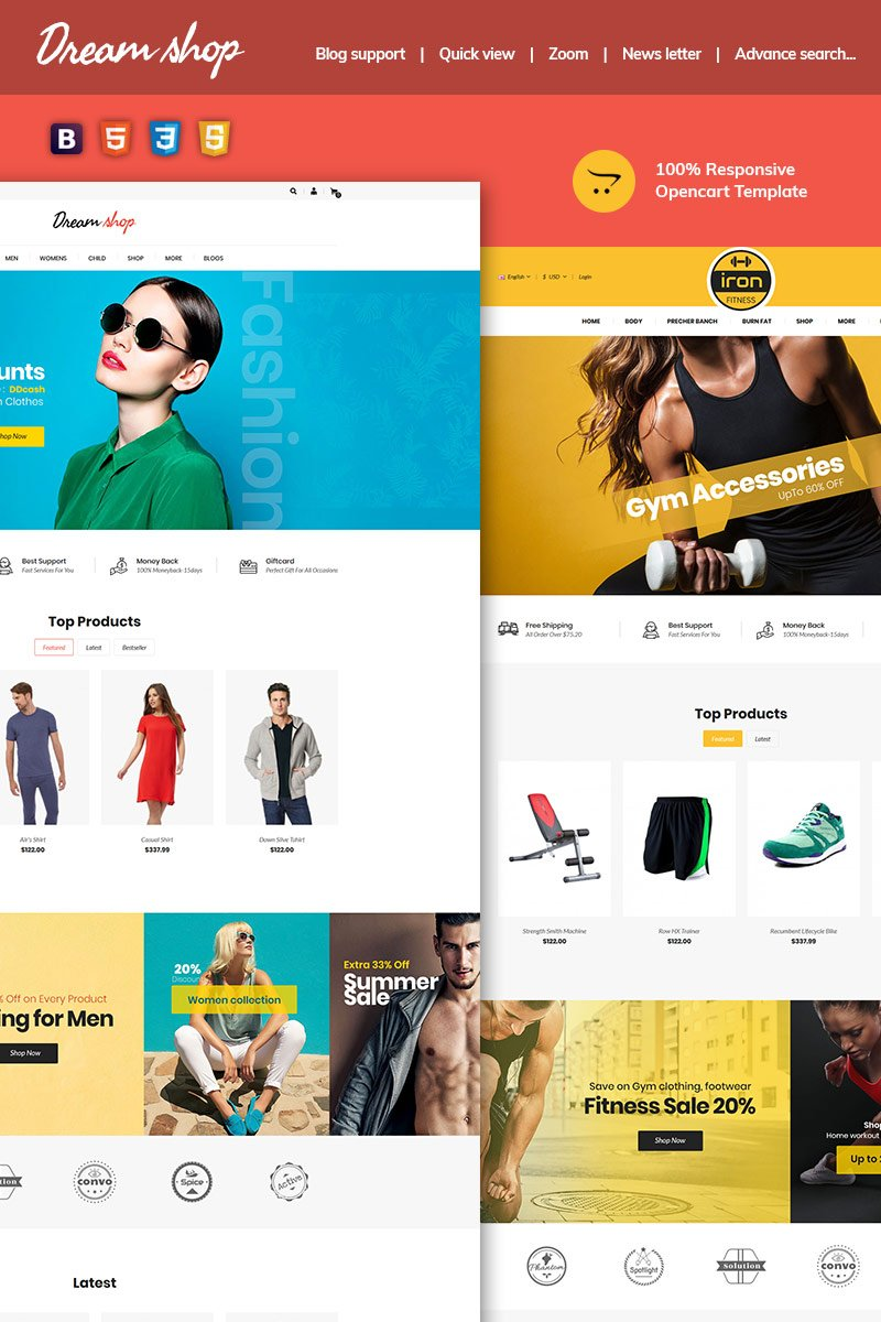 "Responzivní OpenCart šablona ""Dreamshop - Multipurpose Responsive"" #96824"