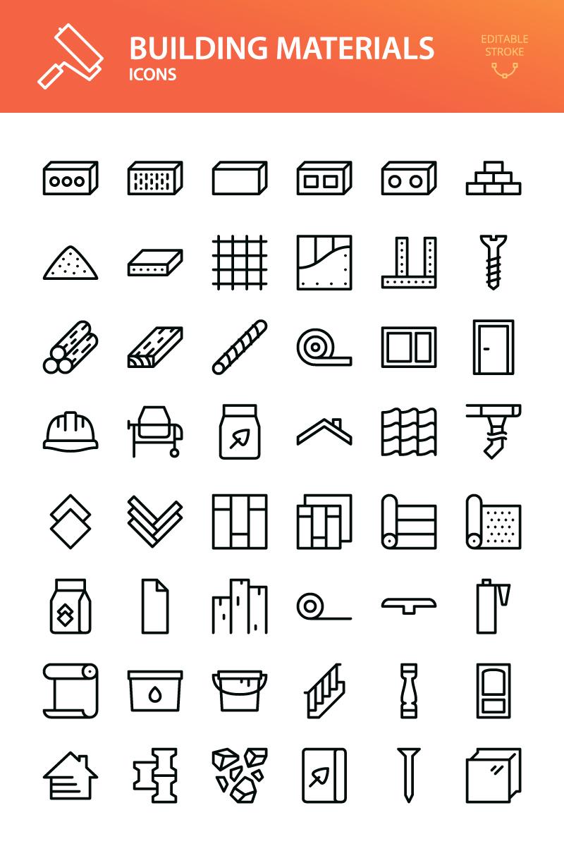Reszponzív Building materials - 48 outline vector symbols Ikon csomag sablon 96835