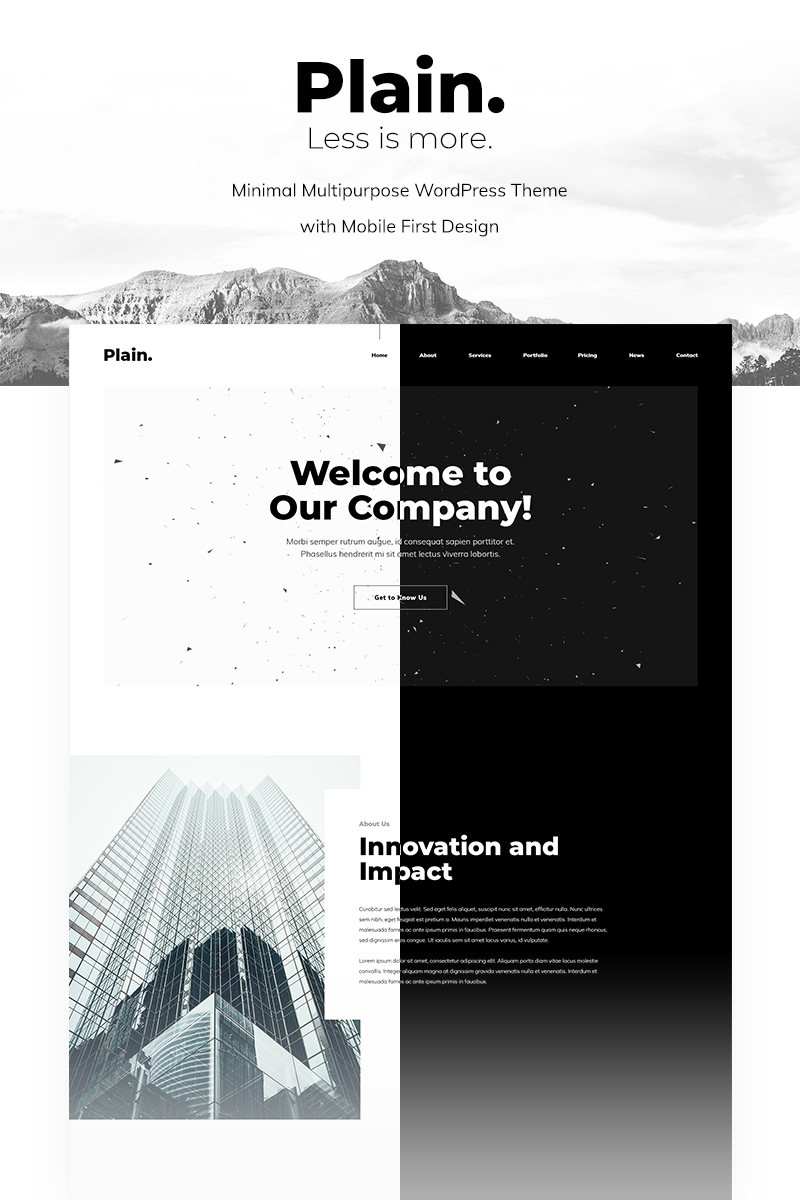 "Tema De WordPress ""Plain - Minimal Multipurpose"" #96813"