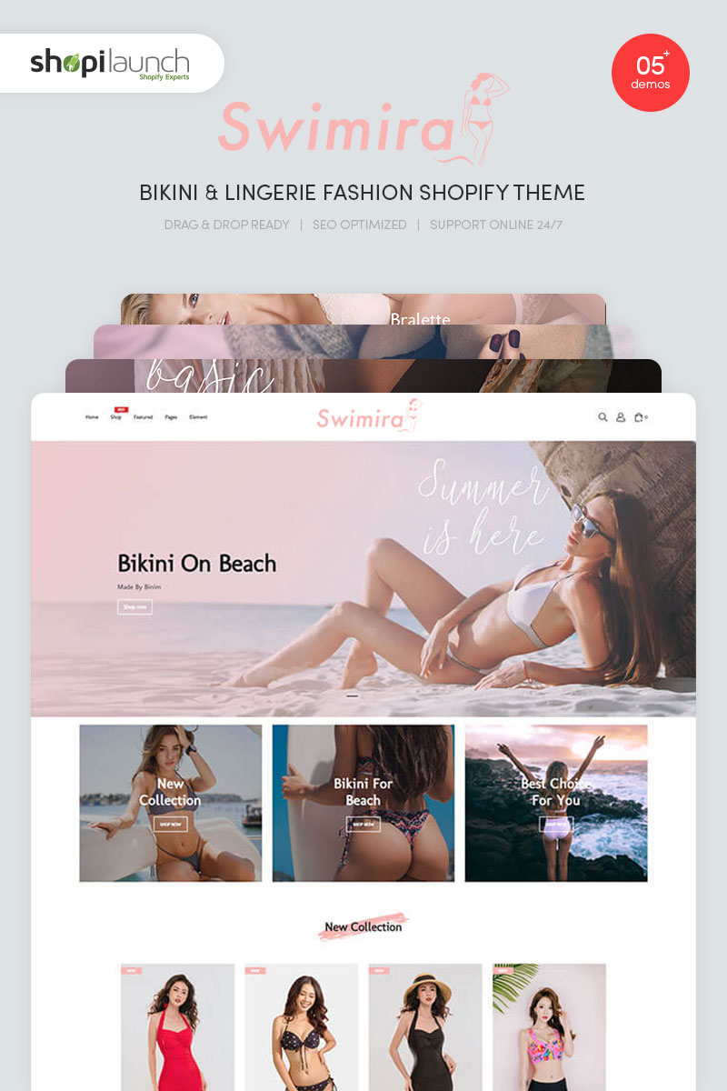 "Tema Shopify ""Swimira - Bikini & Lingerie Fashion"" #96814"