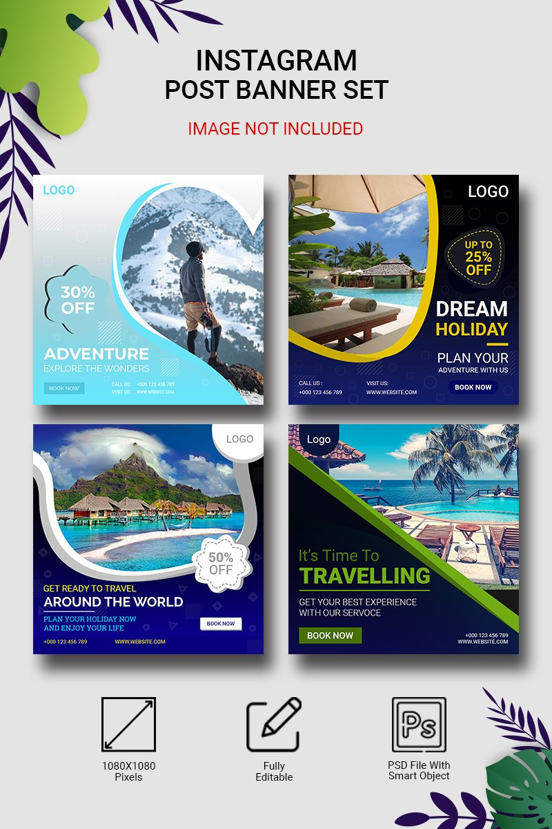 "Template Social Media #96865 ""Instagram Travelling Post Banner Set"""