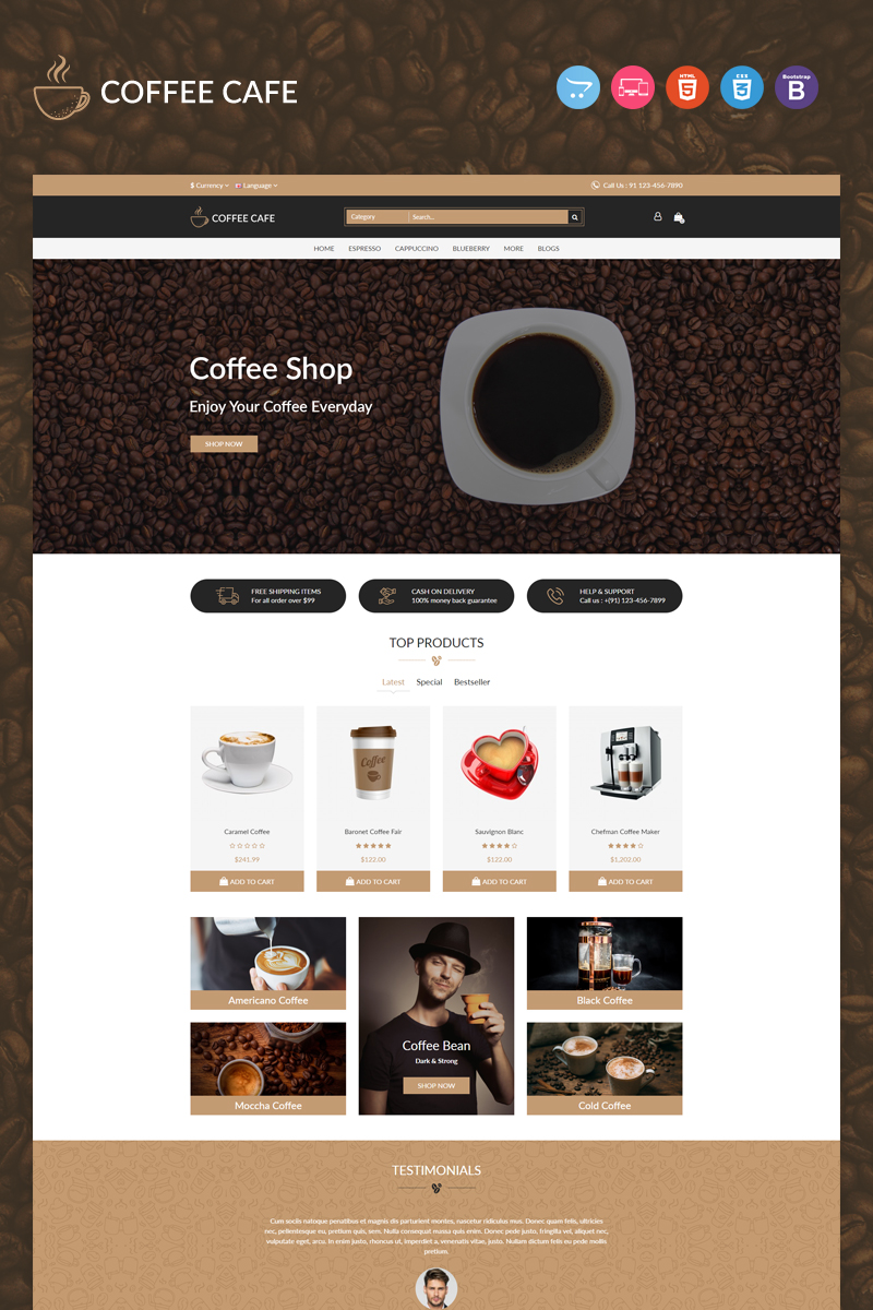 Coffee Responsive Template OpenCart №96973