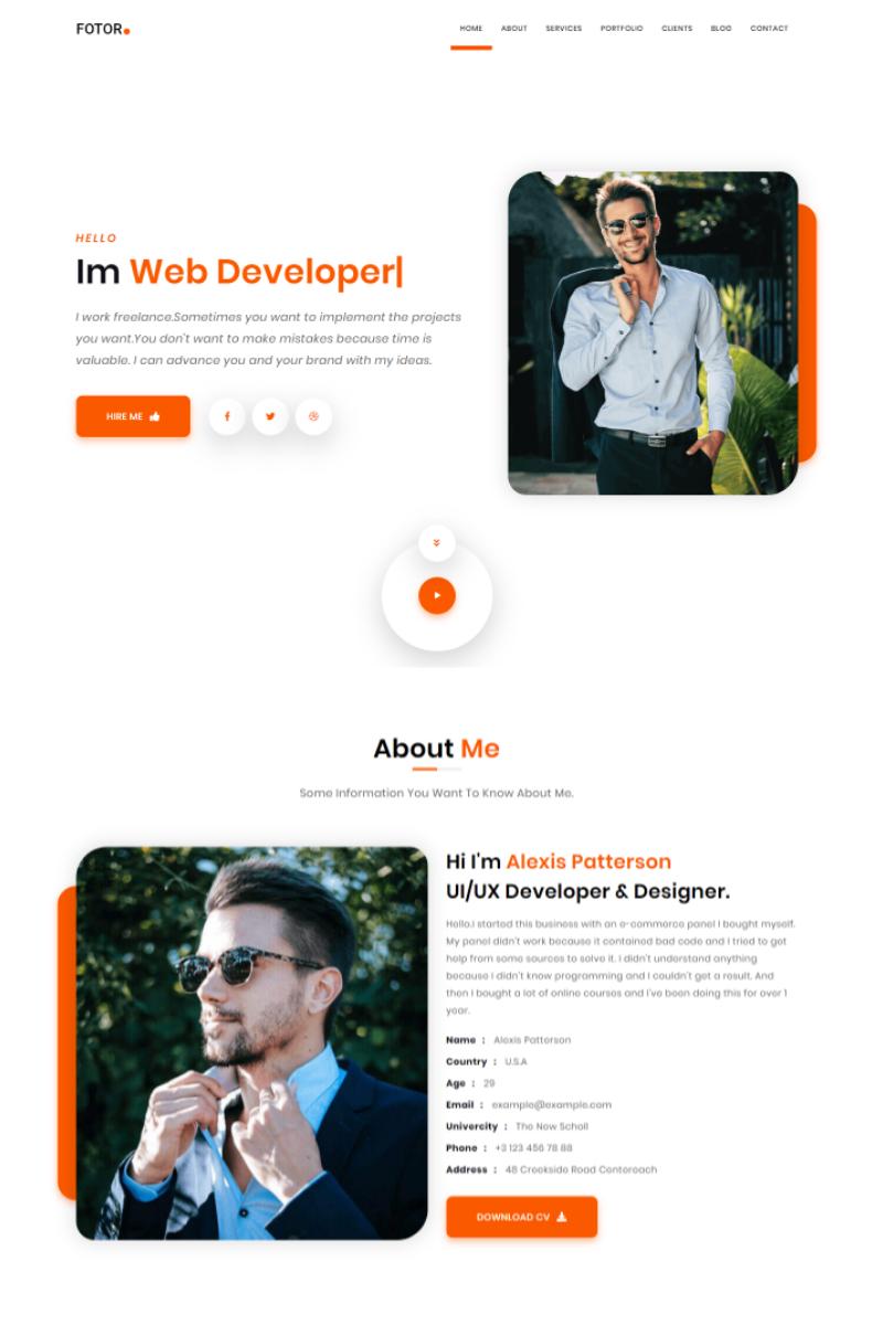 Fotor - Personal Portfolio HTML Landing Page Template