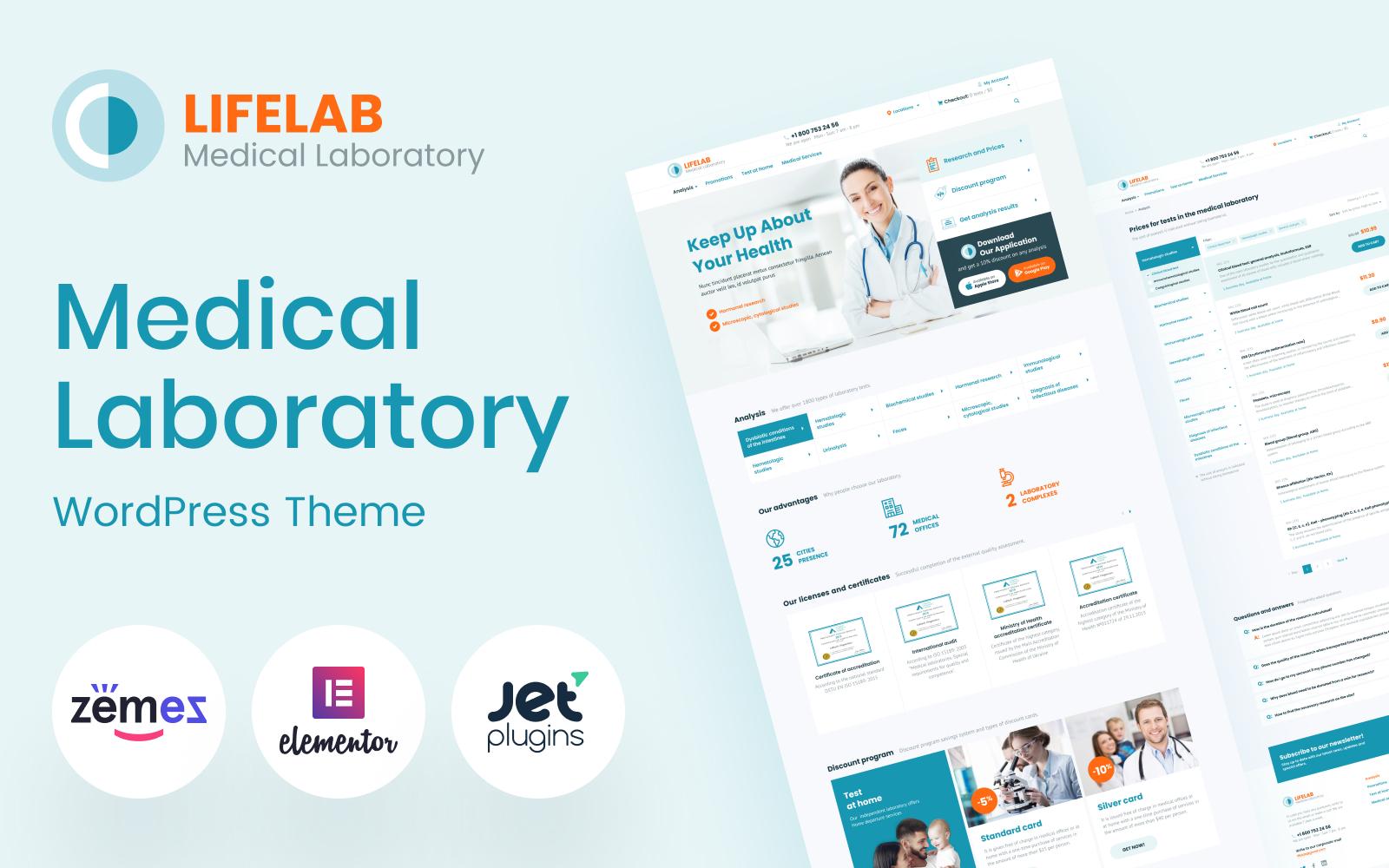 """""""LifeLab - Medical Laboratory"""" - адаптивний WordPress шаблон №96983"""