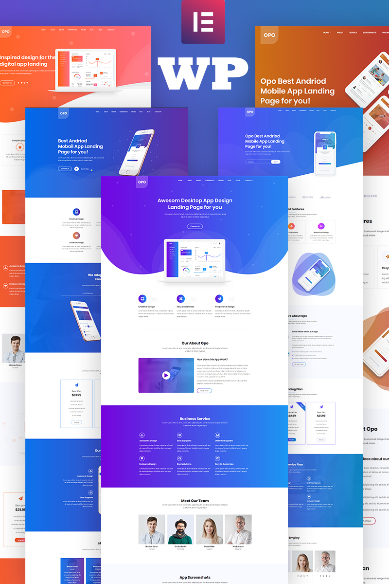 Opo - Creative App Responsive Tema WordPress №96980