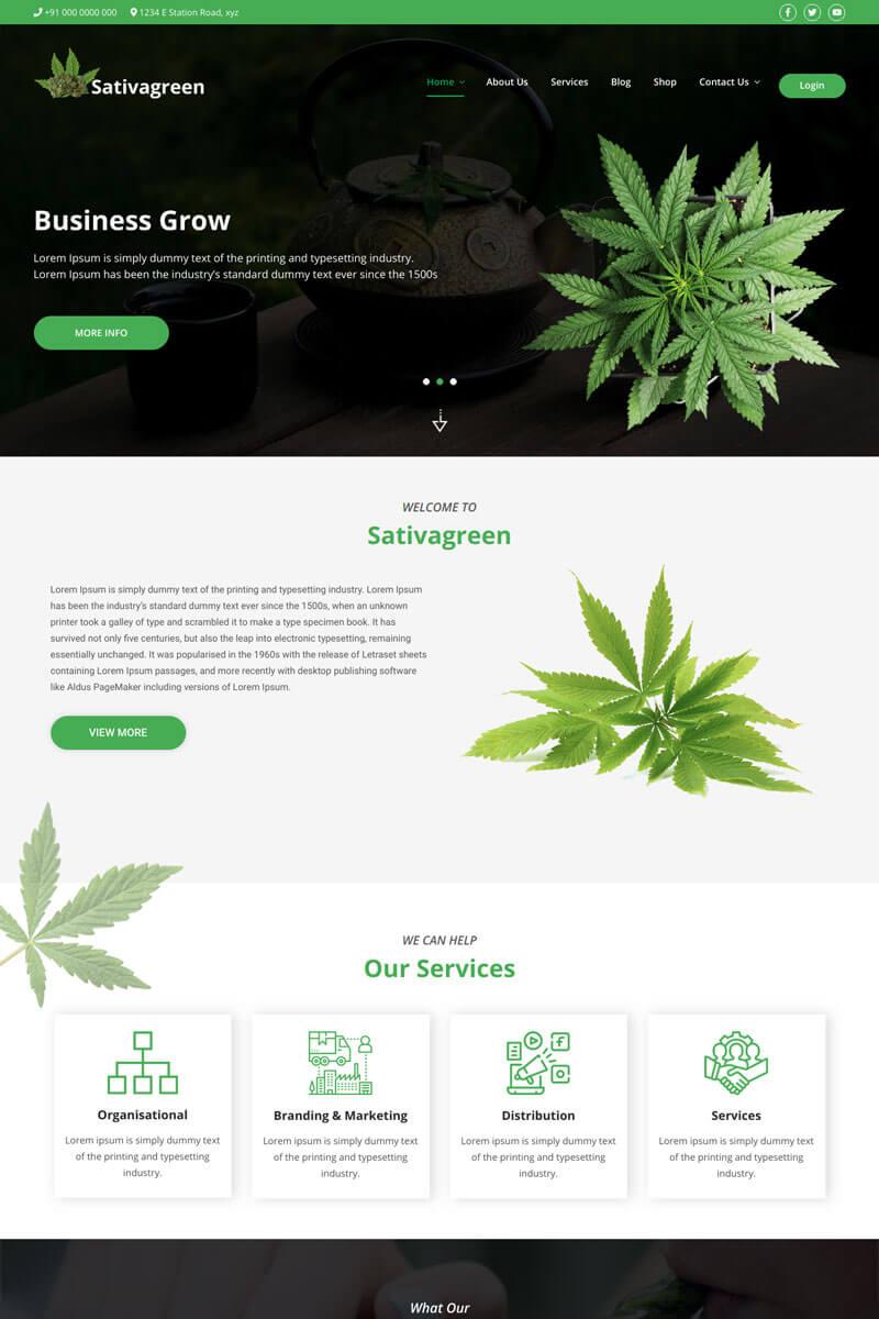 """Sativagreen - Medical Marijuana"" thème WordPress  #96978"