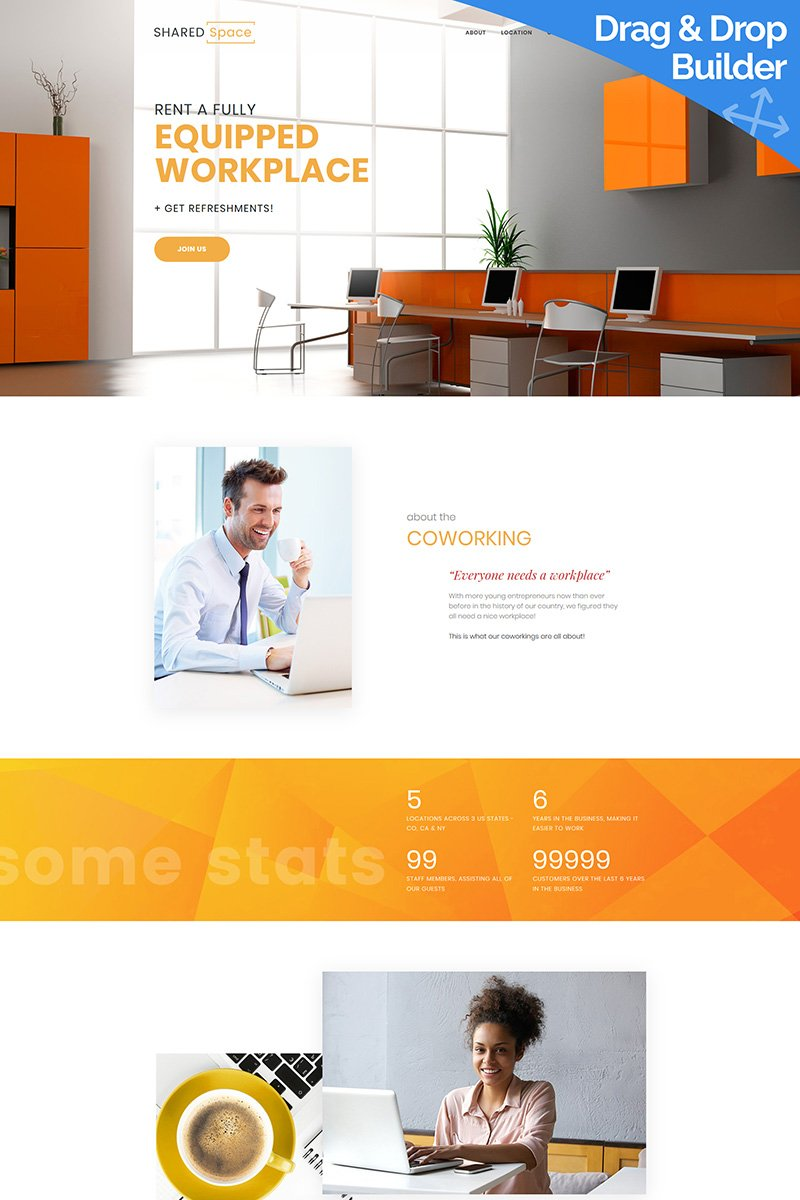 """SharedSpace - Coworking"" Responsive Moto CMS 3 Template №96969"
