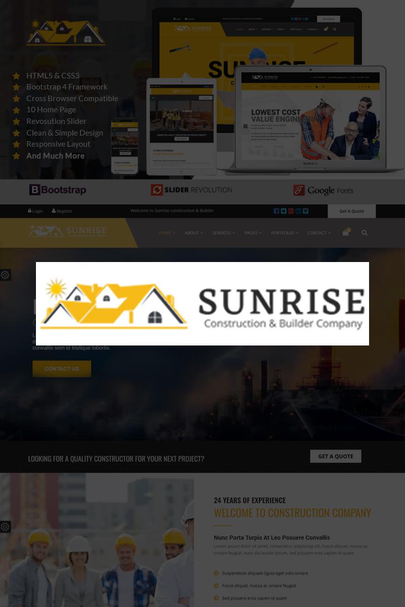 Sunrise Construction & Builder Company Responsive HTML Landing Page Template