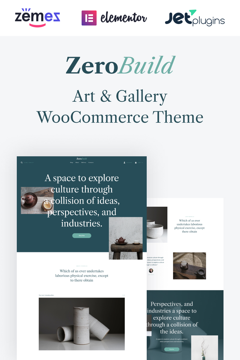 "Tema WooCommerce ""ZeroBuild - WooCommerce Art Gallery Theme That Boosts Your Shop"" #96982"